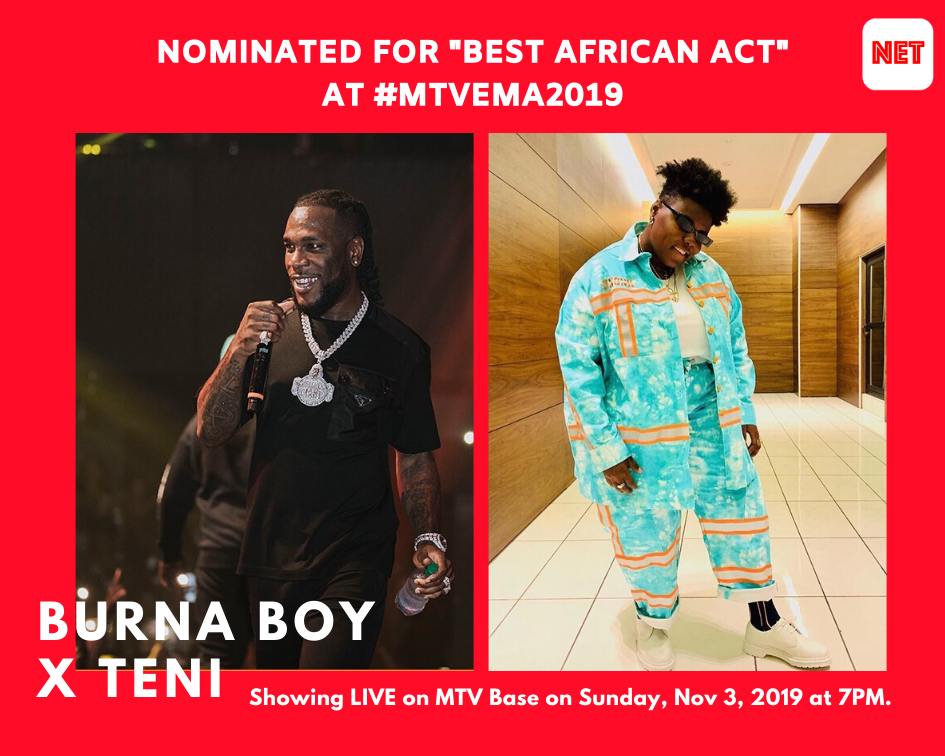 Burna Boy Or Teni May Become The Fifth Nigerian To Win The MTV EMA 'Best African Act' Award