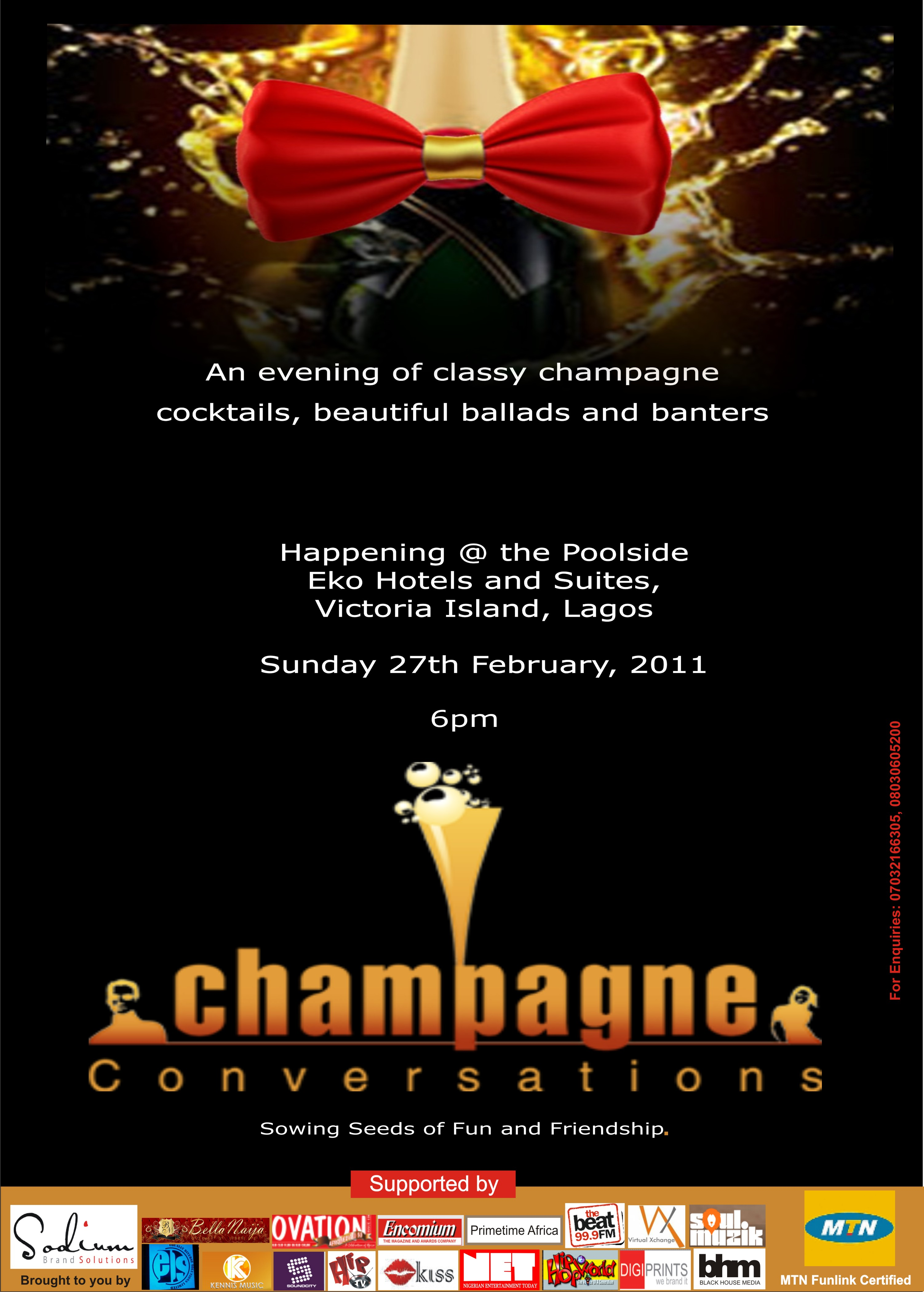 Champagne Conversations Holds Sunday, Feb 27