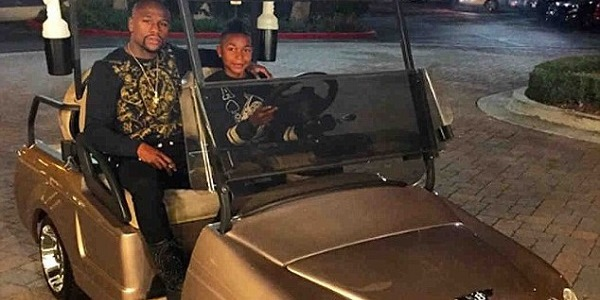 Floyd Mayweather gifts 15-year old son gold Bentley cart for birthday