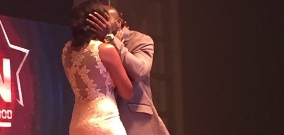 Seun Akindele and Roseane Marcel shares hot kiss on stage