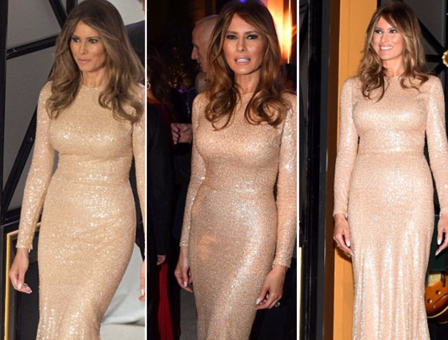 Melania Trump stuns in Reem Accra dress as she joins husband for pre-inauguration dinner