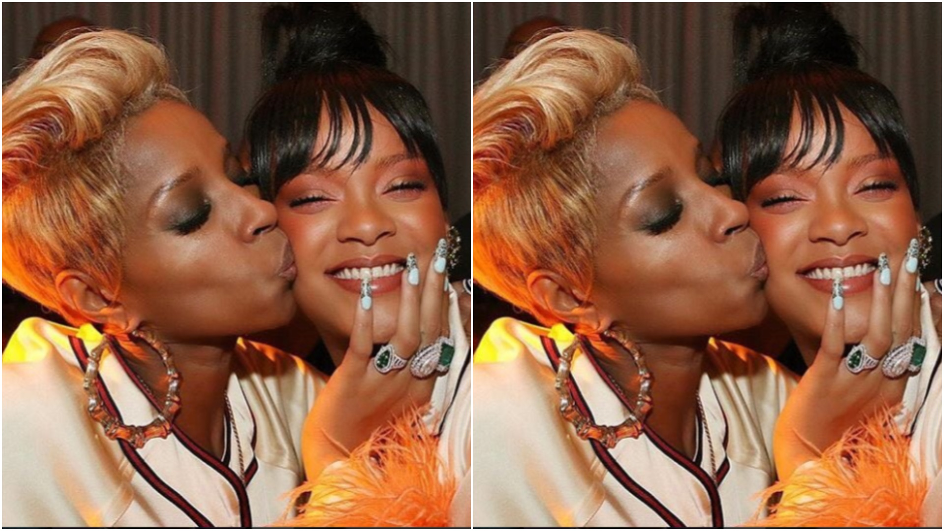 Mary J. Blige giving Rihanna a kiss is cuteness overload