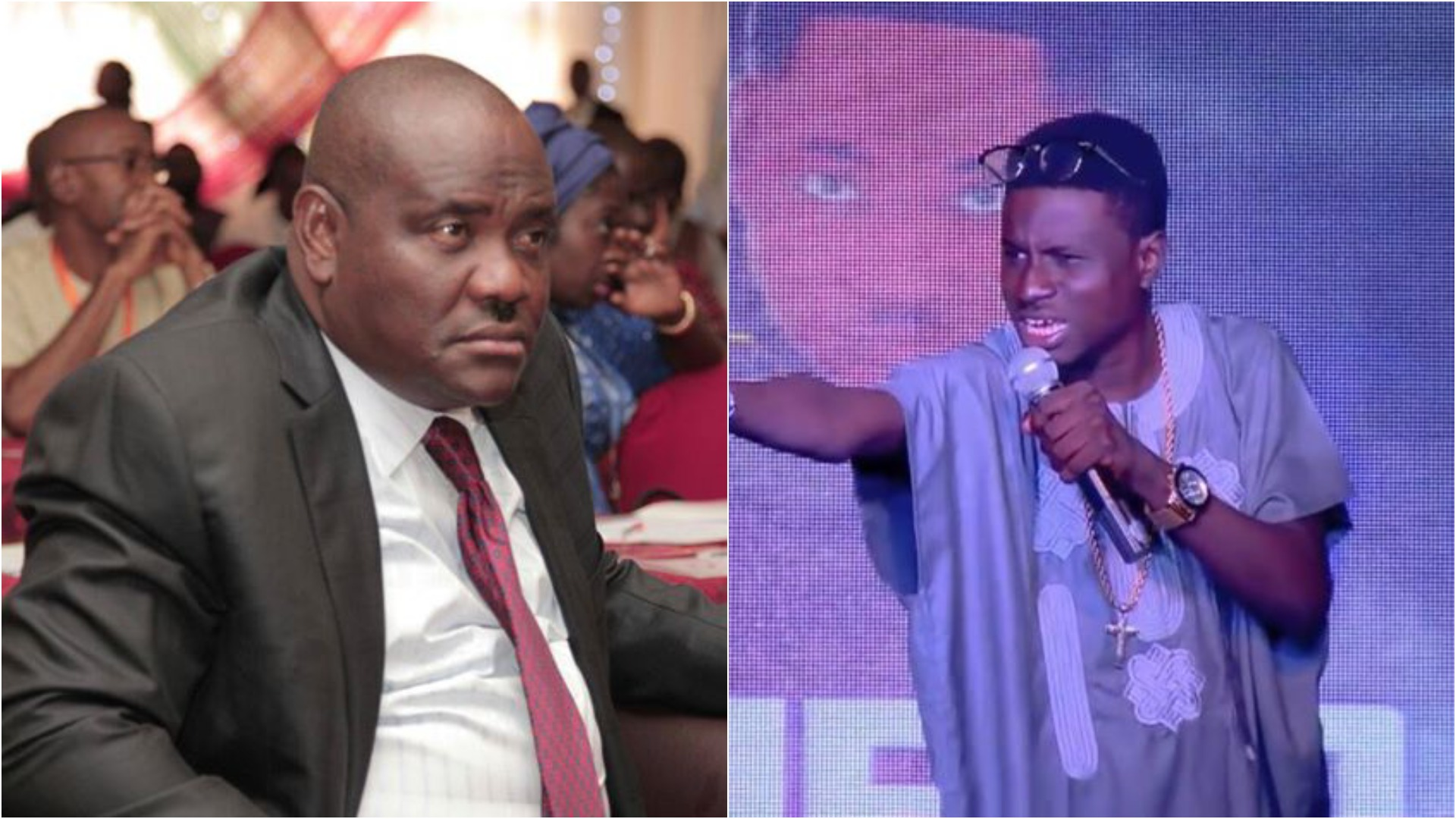 Nigerians react to 'special handshake' between Rivers governor, Nyesom Wike and comedian, Kenny Blaq