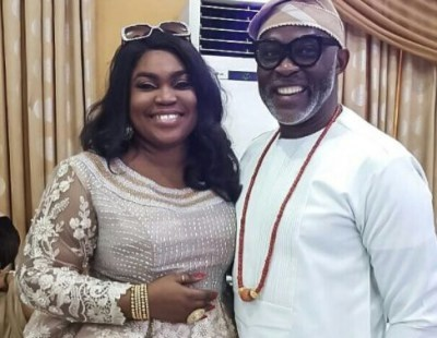 See Richard Mofe-Damijo and his wife looking lovely as ever in this photo