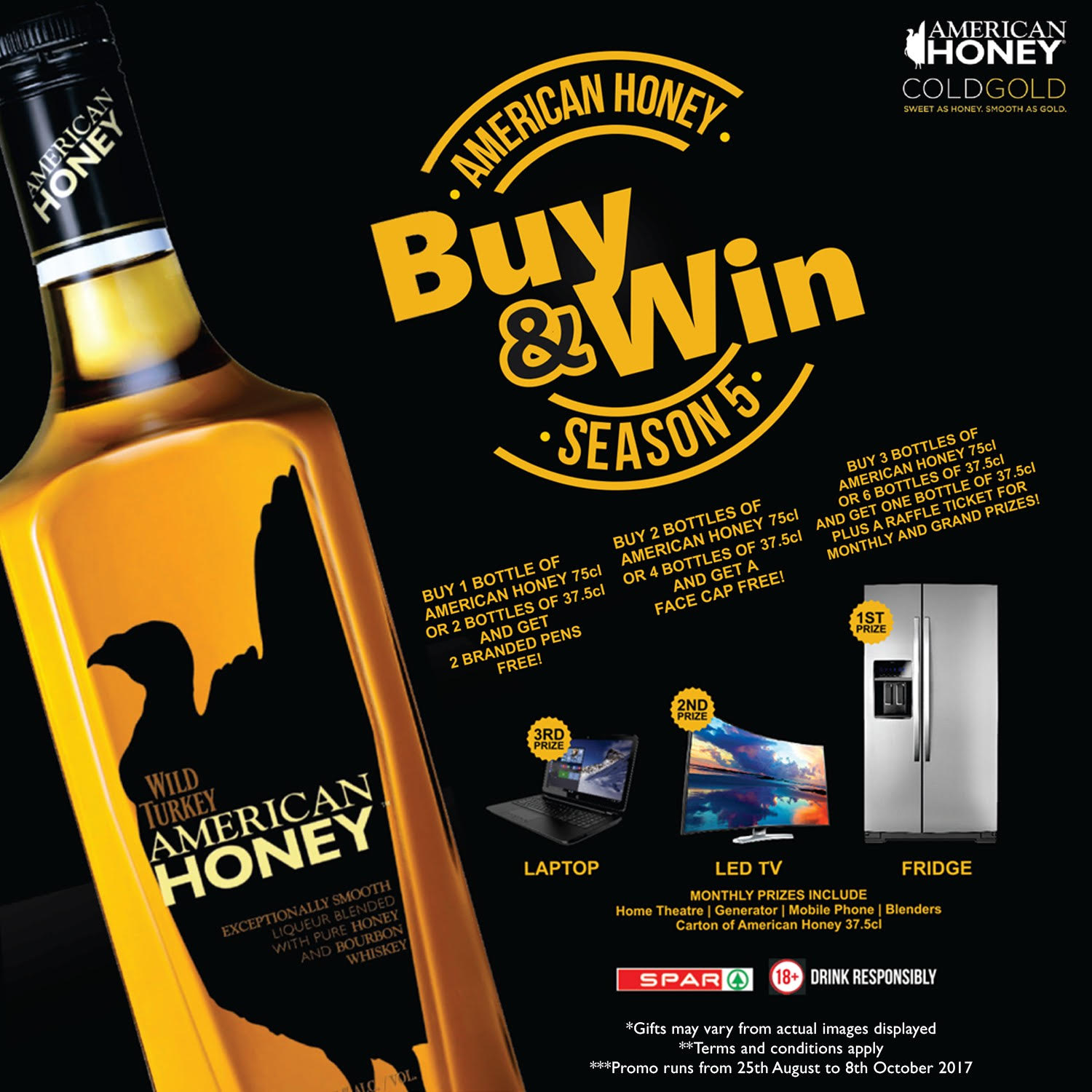 American Honey Buy & Win Promo! Win a brand new laptop, LED TV and other fantastic prizes