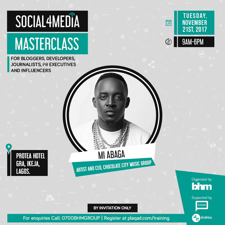 MI Abaga, Ali Baba, Frank Donga, Osagie Alonge, Tosin Ajibade And Others Gear Up For BHM's #Social4Media Masterclass