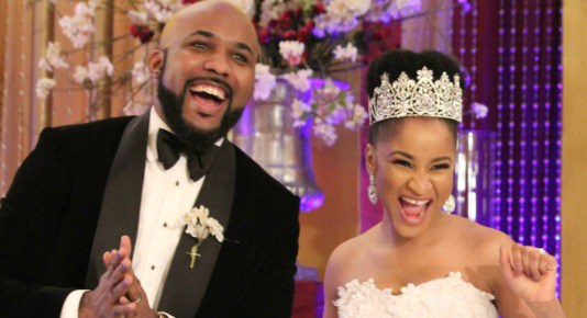 See Banky W's Butterfly Giving Birthday Message To His Wife Adesua