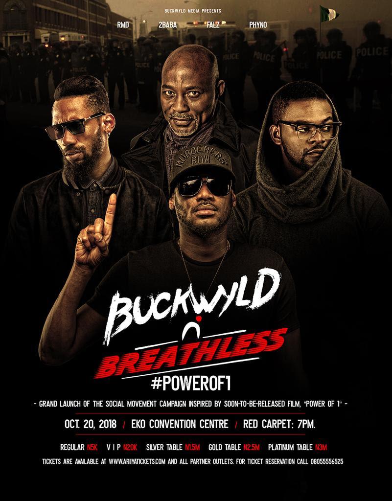 2Baba, RMD, Falz and Phyno To Headline Buckwyld 'n' Breathless