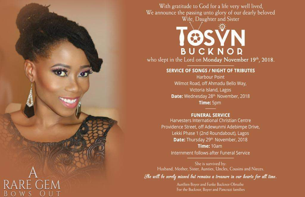 Tosyn Bucknor: Funeral To Hold This Wednesday And Thursday