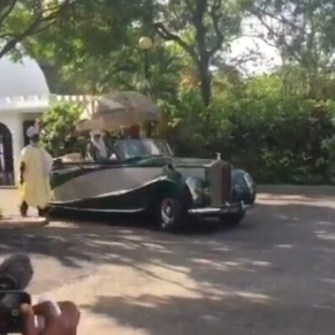 WATCH: Emir of Kano, Ooni of Ife Arrive In Style To Meet With Prince Charles, Wife In Abuja