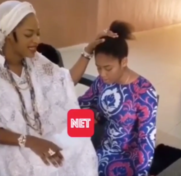 Olori Prophetess Ogunwusi Showers Prayers On Her Visiting Kid Sister