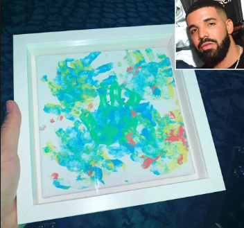 'Picasso don't @ me' - Proud Drake Shows Off Painting Made By His 14 Month Old Son Adonis