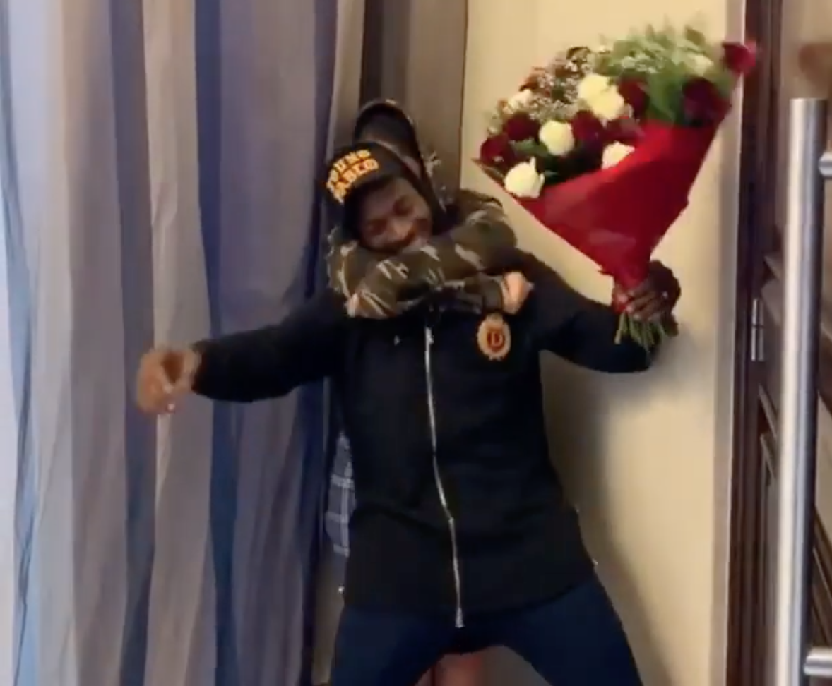 D'banj Shocks His Wife With Surprise Valentine's Day Visit