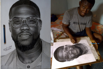 Kevin Hart Patronizes Nigerian Pencil Sketch Artist Who Drew Impressive Portrait of Him
