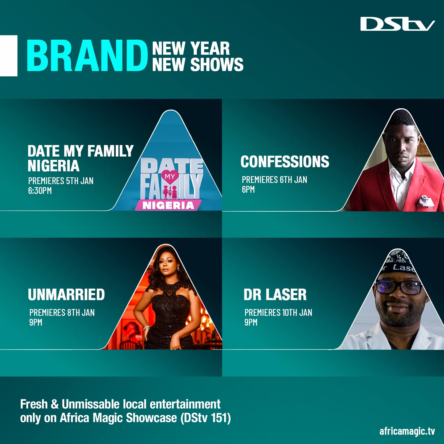 Date My Family, Dr Laser, Confessions, and Unmarried, Africa Magic's New Reality Shows to Begin in January 2020