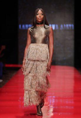 Naomi Campbell walking at Nduka Obaigbena's ARISE Fashion Week