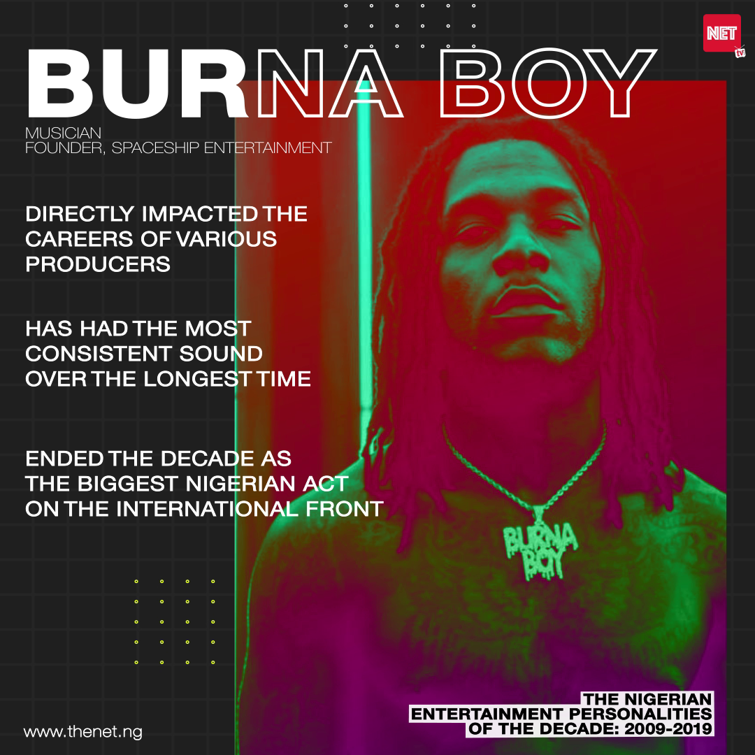 The Nigerian Entertainment Personalities of the Decade (2009 - 2019): BURNA BOY