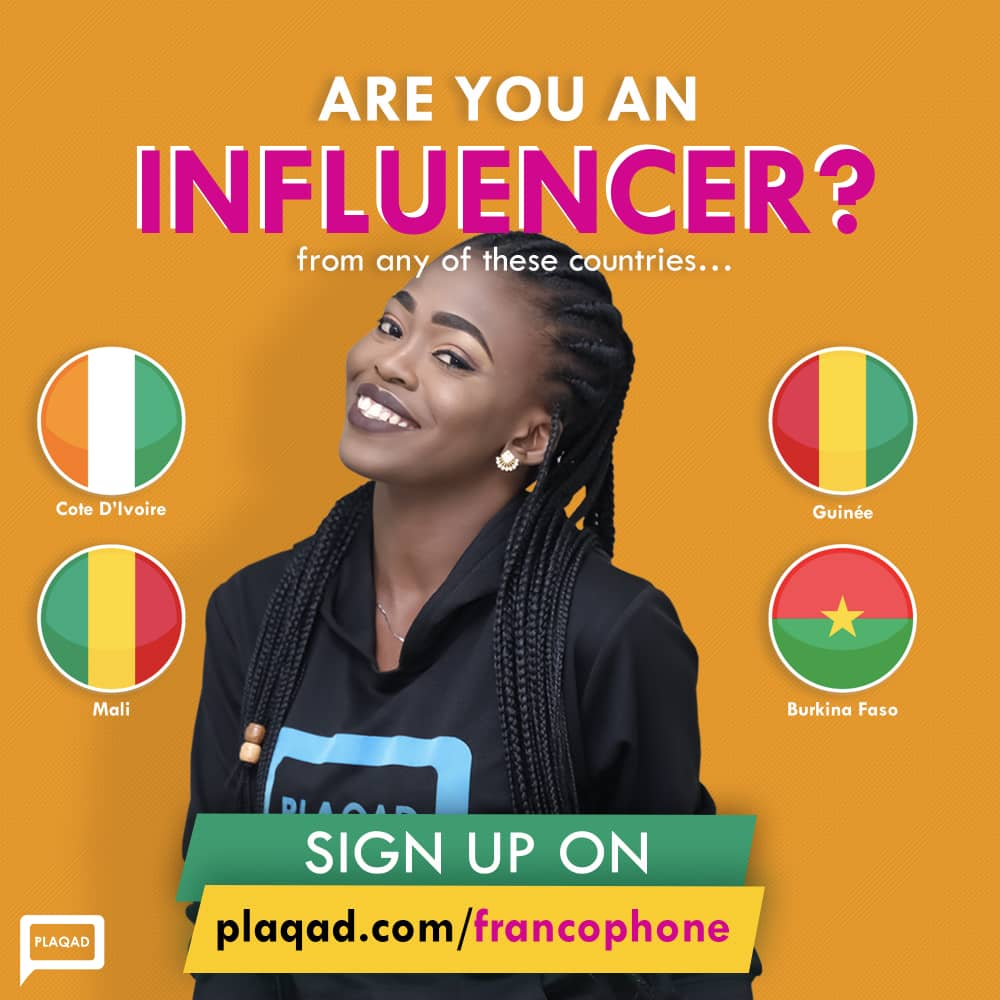 Plaqad Launches Influencer Programme in Mali, Senegal, Cote D'Ivoire, Benin Republic, Others